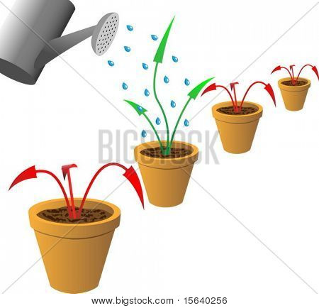 Concept anti-recession vector image. Arrows in flowerpots.
