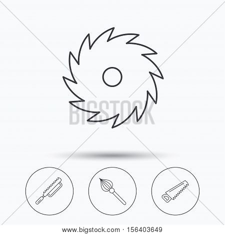 Fretsaw and repair tools icons. Circular saw and brush linear signs. Linear icons in circle buttons. Flat web symbols. Vector