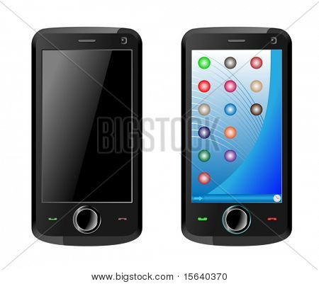 Turned on and off new mobile communicator isolated on white background