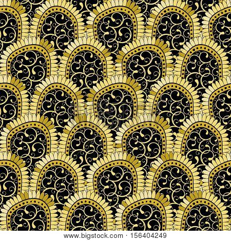 Gold and black seamless pattern with shiny gradient vintage flowers vector