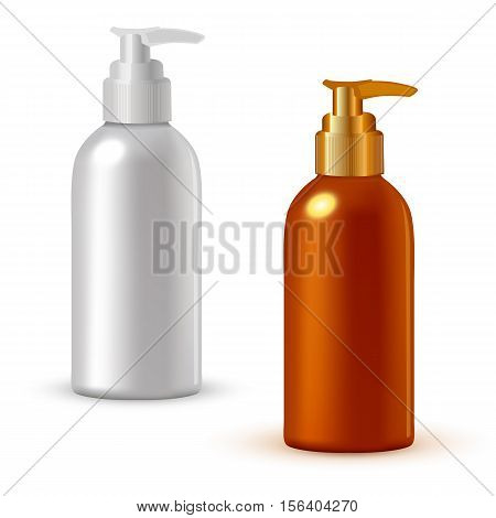 Realistic cosmetic bottle mock up set isolated pack on white background. Cosmetic brand template. Vector cosmetic packaging. Blank cosmetic package collection. Cosmetics beauty products.