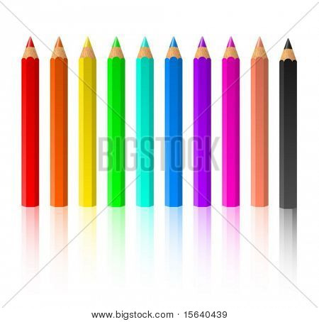 Row of standing color pencils isolated on white background