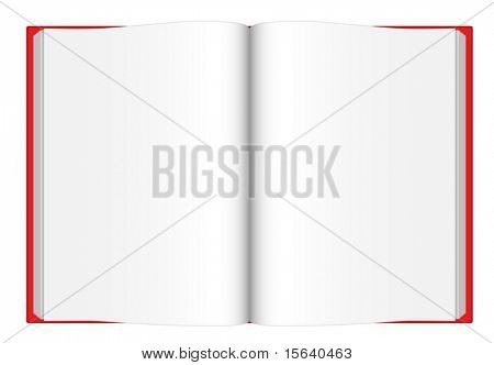 Vector illustration of opened blank book with red cover viewed from top isolated on white background.
