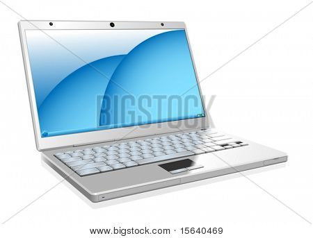 Vector illustration of working white laptop isolated on white background