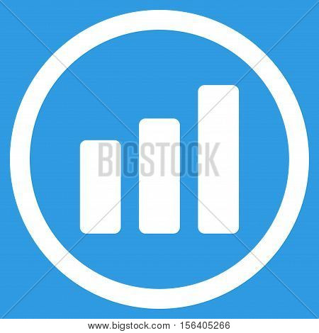 Bar Chart Increase vector rounded icon. Image style is a flat icon symbol inside a circle, white color, blue background.