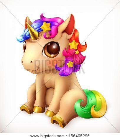 Little Unicorn cartoon character. Funny animals 3d vector icon