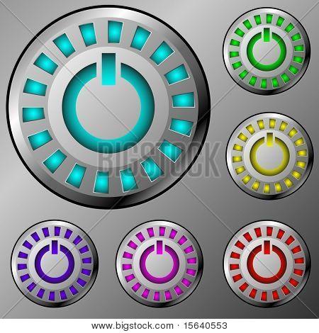 Sistema de vector de power metal iluminada redondo botones sobre fondo de metal.