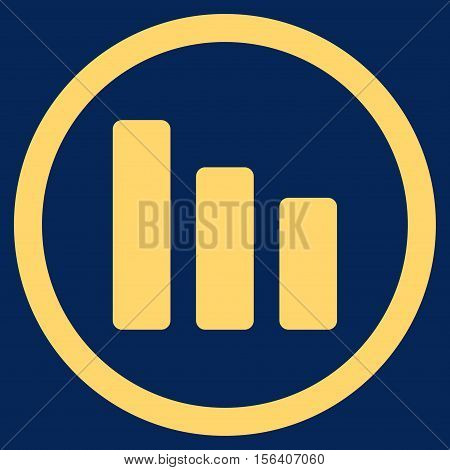 Bar Chart Decrease vector rounded icon. Image style is a flat icon symbol inside a circle, yellow color, blue background.