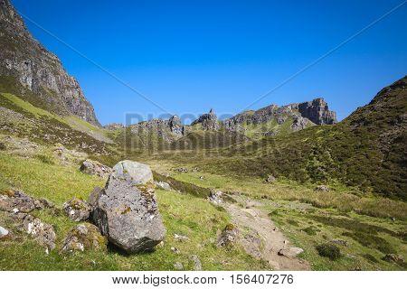 Quiraing mountain landscape Isle of Skye Scotland