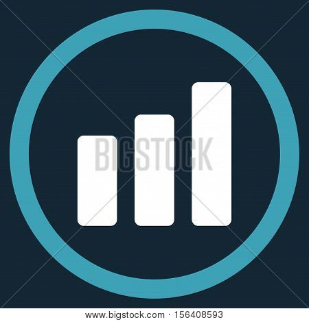 Bar Chart Increase vector bicolor rounded icon. Image style is a flat icon symbol inside a circle, blue and white colors, dark blue background.