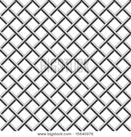 Cromo transparente trenzado diagonal parrilla aislada en blanco.