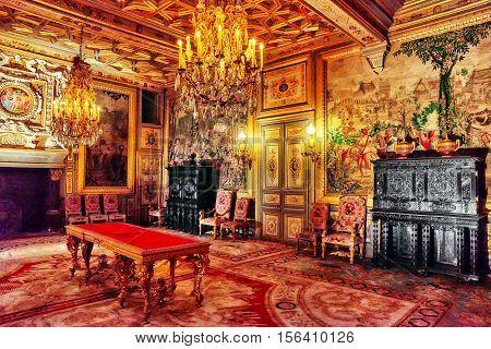 Fontainebleau, France - July 09, 2016 : Fontainebleau Palace Interiors. The Francois I Salon. Chatea