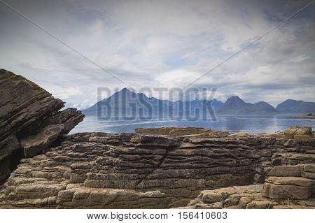 Black Cullin mountains from Elgol Isle of Skye Scotland