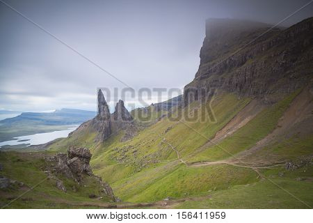 The old man of Storr and other pinnaceles Isle of Skye Scotland