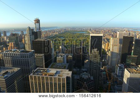 Manhattan Upper Town Skyline and Central Park, viewed from Rockefeller Plaza, New York City, USA