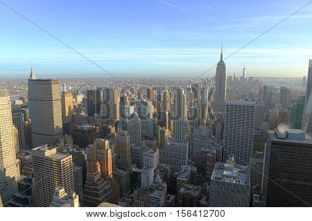 Manhattan Midtown Skyline and Empire State Building, viewed from Rockefeller Plaza, New York City, USA