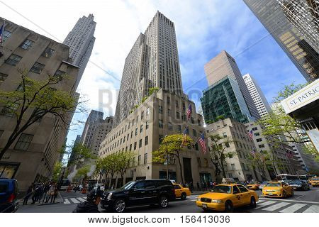 NEW YORK CITY - MAY 6, 2013: Rockefeller Center wide angle, midtown Manhattan, New York City, USA.