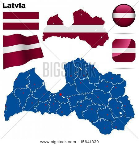 Latvia vector set. Detailed country shape with region borders, flags and icons isolated on white background.