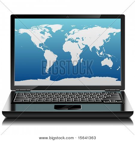 Black laptop with world outlines on the screen. Front view.