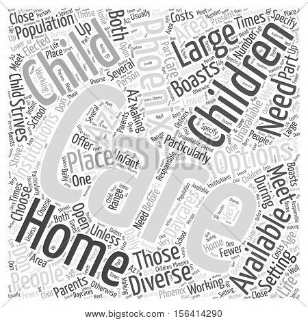 What Child Care Options are Available in Phoenix word cloud  text background concept