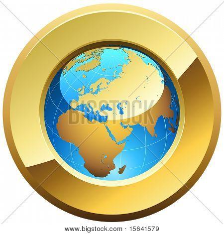 Botão globo aro com moldura dourada brilhante, isolada no branco.