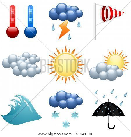 Weather icons set  for forecast web pages. EPS10 file.