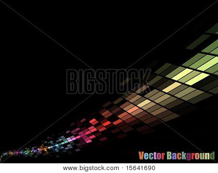 Colorful mosaic stream vector background with black copy space.