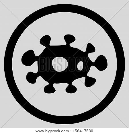 Virus vector rounded icon. Image style is a flat icon symbol inside a circle, black color, light gray background.