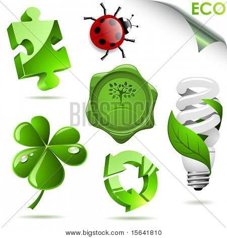 Set of 3D eco symbols isolated on white.