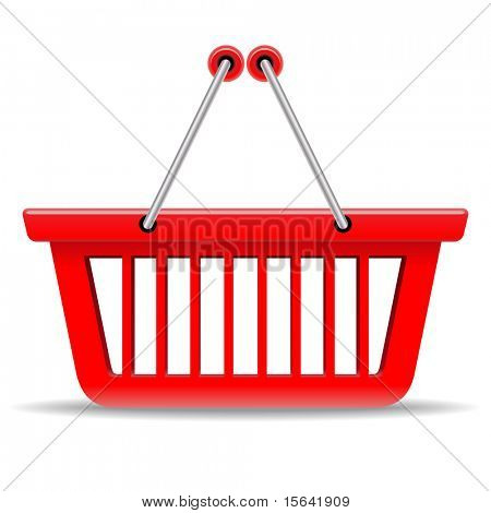 Empty red shopping basket vector icon isolated on white background.