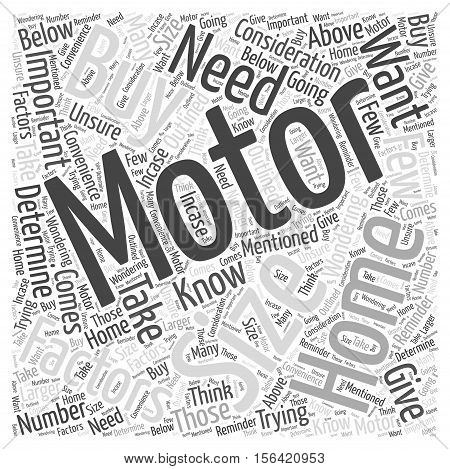 What Size Motor Home Should You Buy word cloud concept