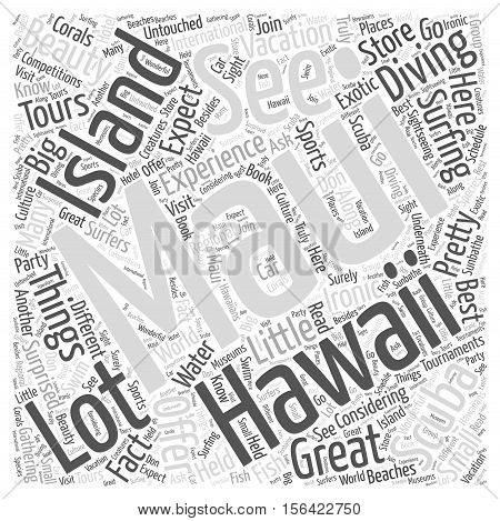 What To Expect At A Maui Hawaii Vacation word cloud concept text background