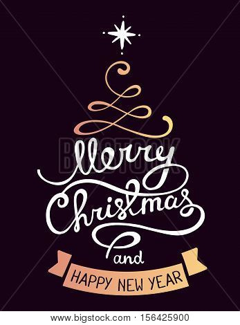Vector Illustration Of Golden Color Stylized Christmas Fir Tree With Handwritten Text Merry Christma