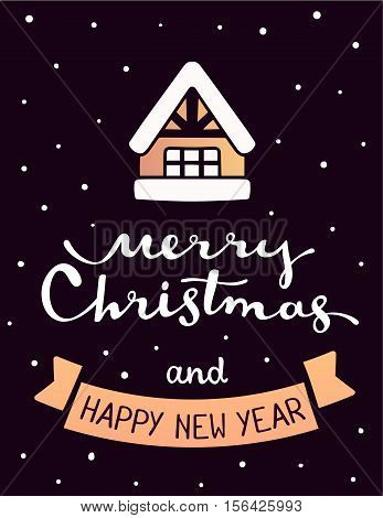Vector Illustration Of Golden Color Christmas Winter House With White Handwritten Text Merry Christm