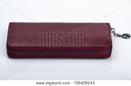 leather female purse on a light background