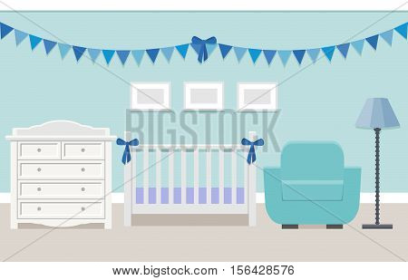 Baby room interior with white cot and changing table for boy in flat style. Modern blue nursery design. Vector illustration.