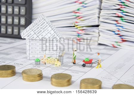 House With Farmer Have Blur Pile Gold Coins As Foreground