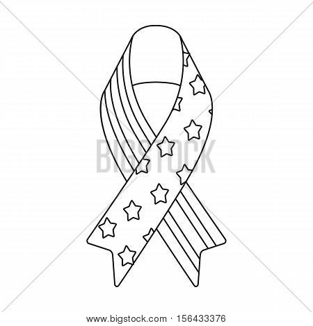 Patriotic ribbon icon in outline style isolated on white background. Patriot day symbol vector illustration.