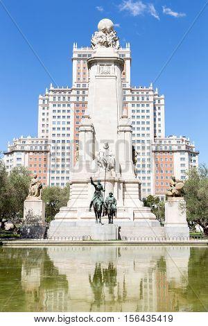 Monument to Cervantes, Don Quixote and Sancho Panza at Plaza Espana Madrid Spain