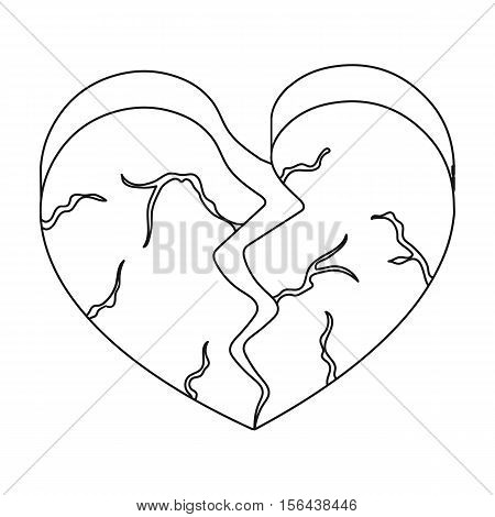 Heart icon in outline style isolated on white background. Romantic symbol vector illustration.