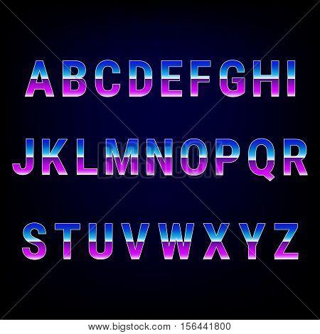 Vector sci-fi retro typeface in futuristic style