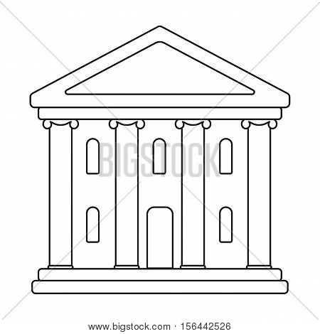 Theatre building icon in outline style isolated on white background. Theater symbol vector illustration