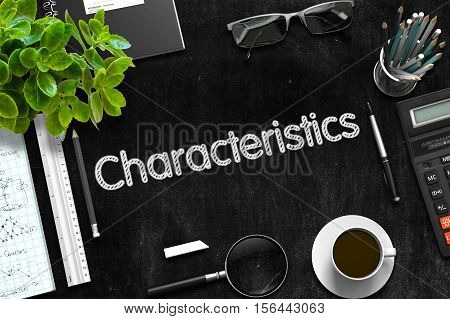 Characteristics on Black Chalkboard. Black Chalkboard with Characteristics. 3d Rendering.