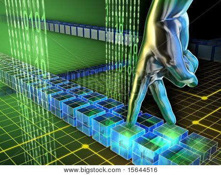 Hand walks on a cyber path using its fingers. Digital illustration.