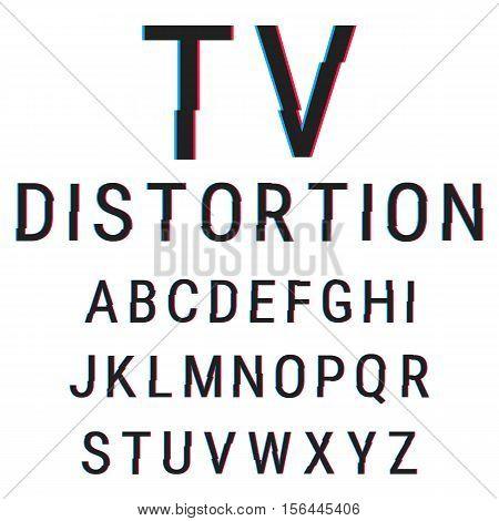Alphabet stock vector illustration with aberration effect.