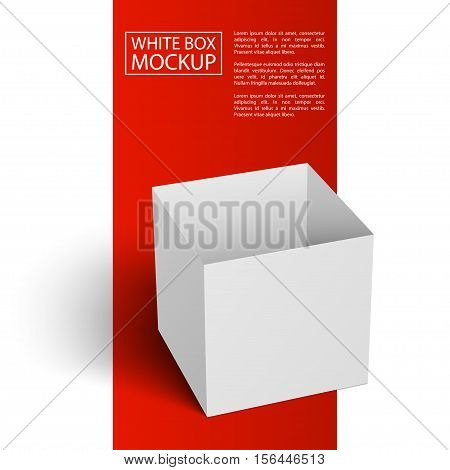 White Blank Box with shadow isolated on white background. Red Line series. Ready for your design. Vector Illustration.