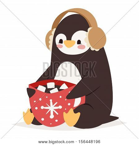 Penguin vector illustration character gift box. Cartoon funny penguin cute character isolated. Penguin vector cute bird posing. Christmas holiday penguin gift box