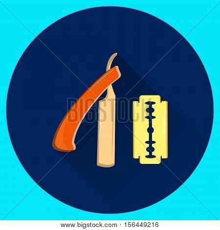 Straight razor for shaving and replaceable blade. Barber equipment. Vector flat illustration