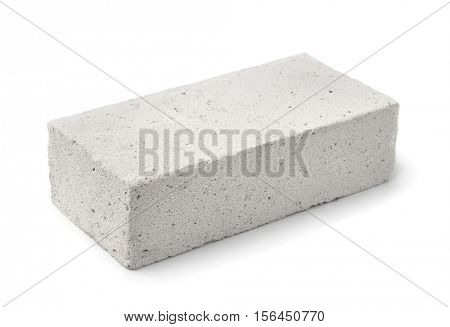 Lightweight foamed gypsum block isolated on white