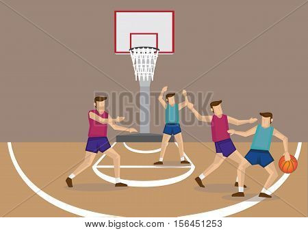Cartoon vector illustration of a group of four young man playing basketball at basketball court.